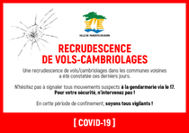 [COVID-19] RECRUDESCENCE DE VOLS-CAMBRIOLAGES
